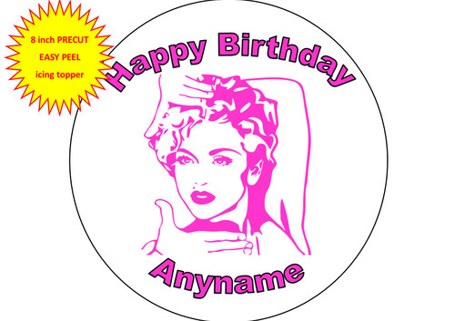 PERSONALISED Madonna Pink Silouette Artwork 8 inch Round EASY PEEL, PRECUT Edible Icing Cake Topper Decoration
