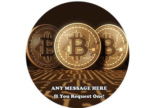 PERSONALISED 3 Big Gold Bitcoins 8 inch Round EASY PEEL, PRECUT Edible Icing Cake Topper Decoration