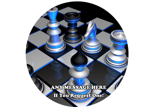 PERSONALISED 3D Chess Blue Neon 8 inch Round EASY PEEL, PRECUT Edible Icing Cake Topper Decoration