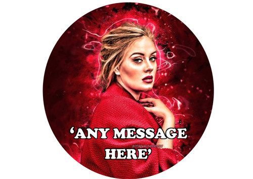PERSONALISED Adele Red Neon 8 inch Round EASY PEEL, PRECUT Edible Icing Cake Topper Decoration