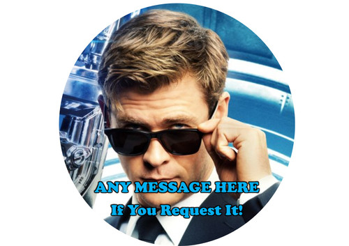PERSONALISED Agent H, Men In Black, Chris Hemsworth Colourful 8 inch Round EASY PEEL, PRECUT Edible Icing Cake Topper Decoration
