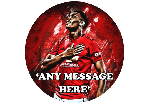 PERSONALISED Anthony Martial Neon Man United 8 inch Round EASY PEEL, PRECUT Edible Icing Cake Topper Decoration