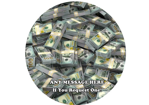 PERSONALISED Bank Bundles 100 Dollar Notes 8 inch Round EASY PEEL, PRECUT Edible Icing Cake Topper Decoration