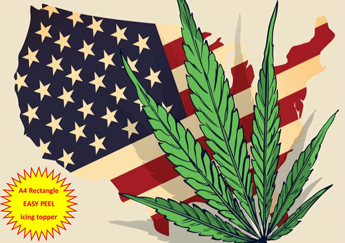 420 American Flag Cannabis Hash Leaf A4 EASY PEEL, PRECUT Edible Icing Cake Topper Birthday
