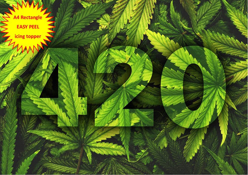 420 Camoflage cannabis hash leaf cbd A4 EASY PEEL, PRECUT Edible Icing Cake Topper Birthday
