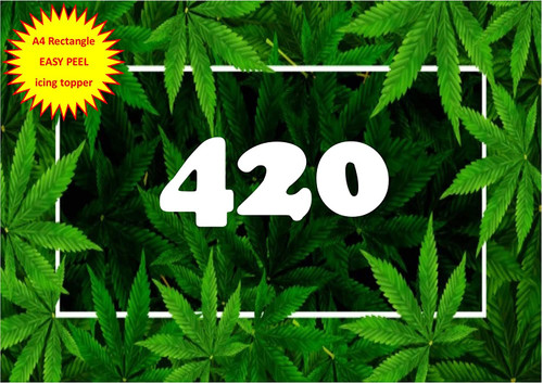 420 Cannabis hash leaf background frame cbd A4 EASY PEEL, PRECUT Edible Icing Cake Topper Birthday
