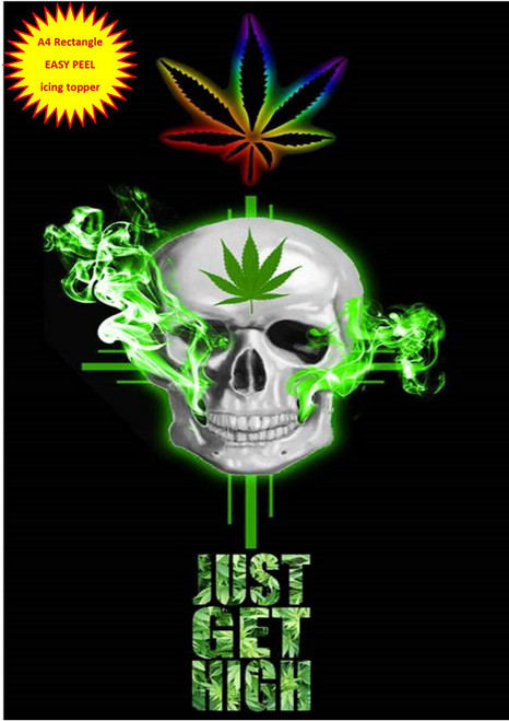 420 Just Get High Skull with Spliff A4 EASY PEEL, PRECUT Edible Icing Cake Topper Birthday