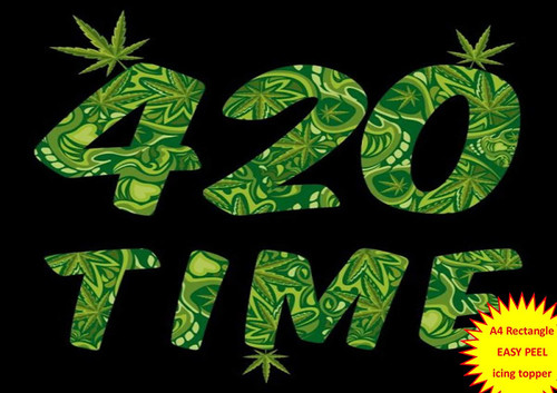 420 time cannabis hash leaf black background A4 EASY PEEL, PRECUT Edible Icing Cake Topper Birthday