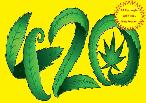 420 Yellow Background Cannabis Hash Leaf A4 EASY PEEL, PRECUT Edible Icing Cake Topper Birthday
