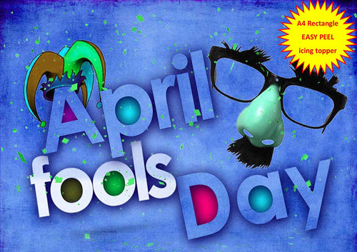 April Fools Day Clown Nose Glasses Jesters Hat BLUE A4 EASY PEEL, PRECUT Edible Icing Cake Topper Birthday