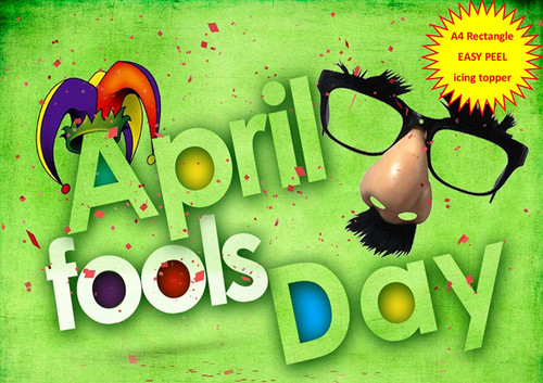 April Fools Day Clown Nose Glasses Jesters Hat GREEN A4 EASY PEEL, PRECUT Edible Icing Cake Topper Birthday