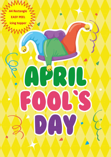 April Fools Day Yellow Jesters Hat A4 EASY PEEL, PRECUT Edible Icing Cake Topper Birthday