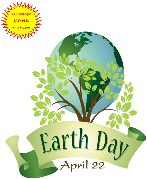 Earth Day April 22 Planet with Tree A4 EASY PEEL, PRECUT Edible Icing Cake Topper Birthday