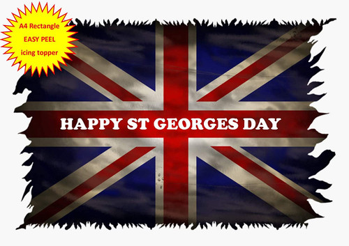 Happy St Georges Day Union Jack Flag A4 EASY PEEL, PRECUT Edible Icing Cake Topper Birthday