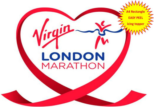 London Marathon Ribbon Logo Support A4 EASY PEEL, PRECUT Edible Icing Cake Topper Birthday