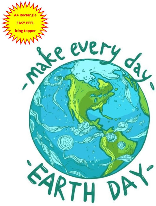 Make every day Earth Day with planet A4 EASY PEEL, PRECUT Edible Icing Cake Topper Birthday