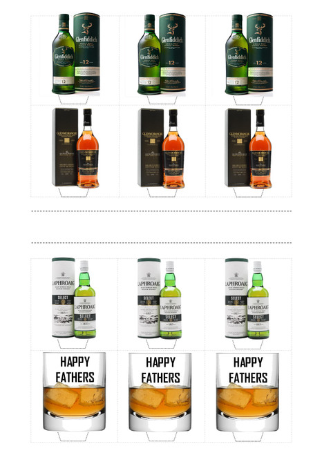 HAPPY FATHERS DAY DAD WHISKY MIX  -   Standups 12 Edible Standup Premium Wafer Cake Toppers