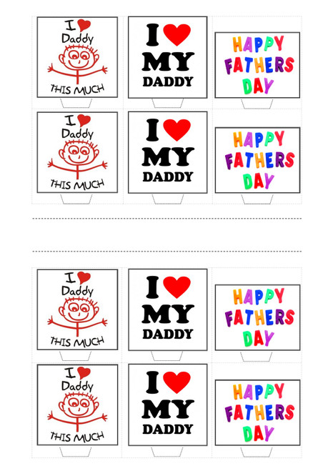 HAPPY FATHERS DAY DAD KIDS TRIO MIX  -   Standups 12 Edible Standup Premium Wafer Cake Toppers