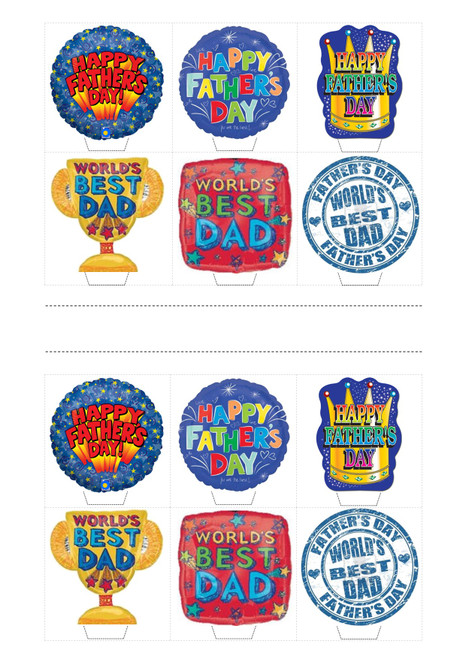 HAPPY FATHERS DAY DAD PARTY PACK MIX  -   Standups 12 Edible Standup Premium Wafer Cake Toppers