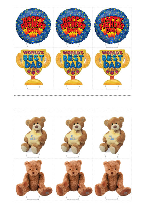 HAPPY FATHERS DAY DAD TEDDY MIX  -   Standups 12 Edible Standup Premium Wafer Cake Toppers