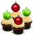 XMAS BAUBLES RED & GREEN -   Standups 12 Edible Standup Premium Wafer Cake Toppers