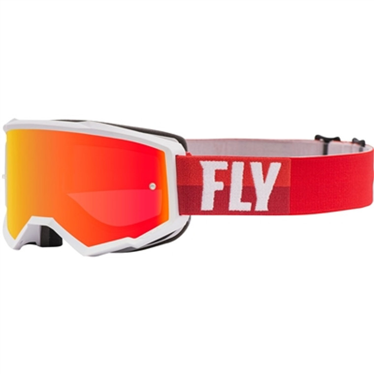 FLY Racing 2021 Youth Zone MX Goggle - White/Red w/Red Mirror/Brown Lens w/Post