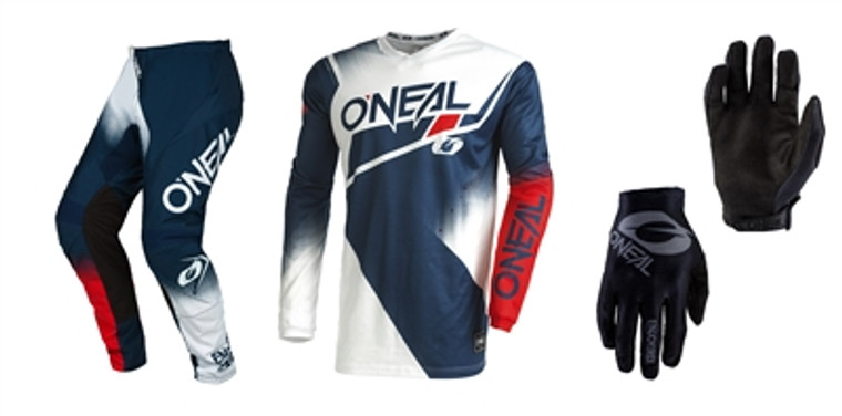 Oneal 2022 Element Racewear Blue/Red Jersey Pant Matrix Gloves Combo