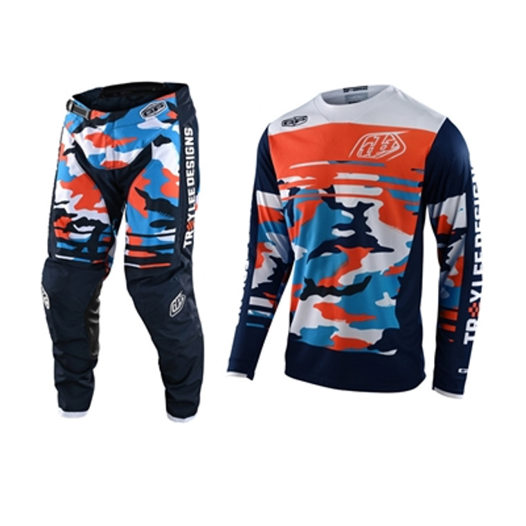 Troy Lee Designs 2022 Youth GP Formula Camo Navy/Orange Jersey Pant Combo