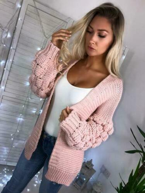chunky knit bubble sleeve cardigan pink
