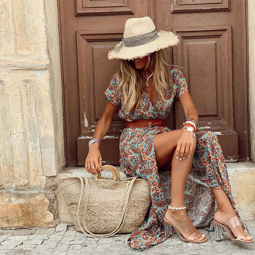 BELTED MAXI DRESS PAISLEY