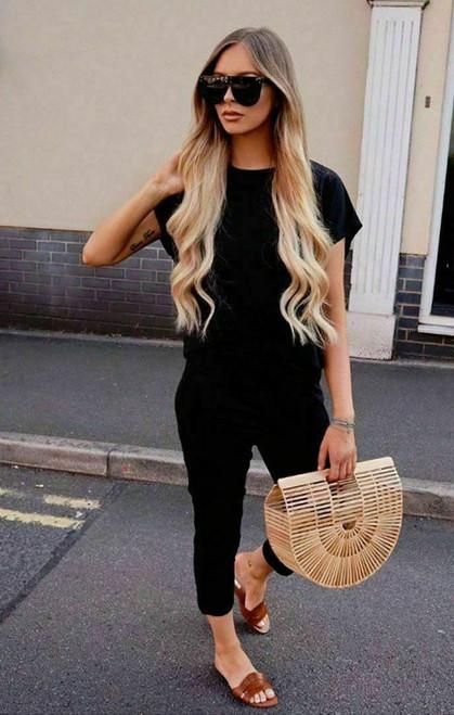 black short sleeved loungewear