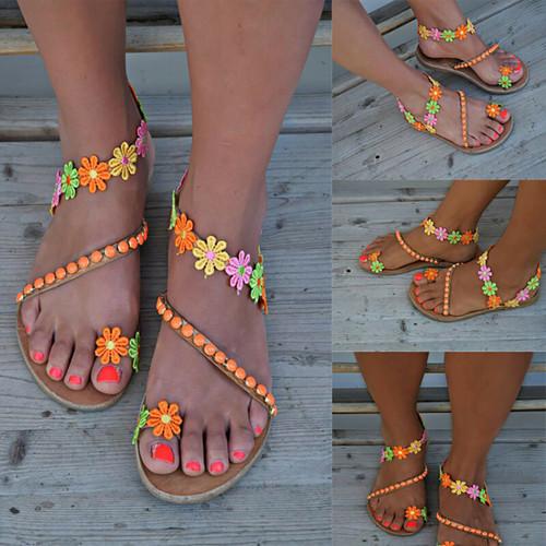 beaded flower power sandals