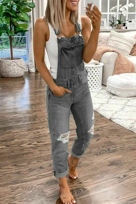 distressed dungarees grey