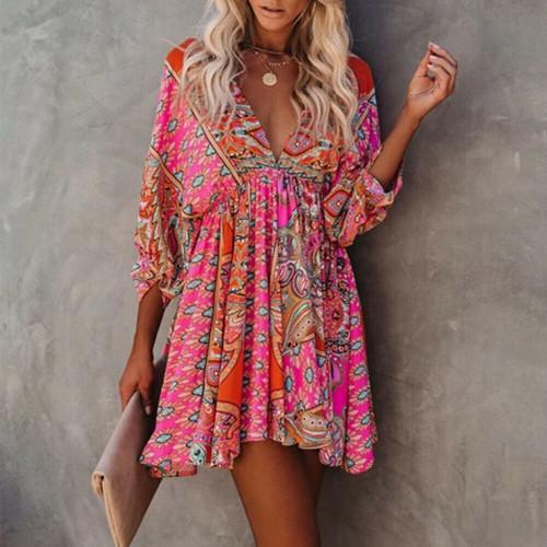 patchwork mini sundress pink