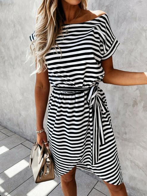 off shoulder striped sun dress black
