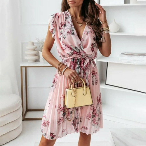 FLORAL PLEATED RUFFLE DRESS PINK