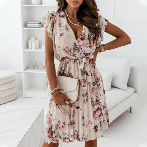 FLORAL PLEATED RUFFLE DRESS APRICOT