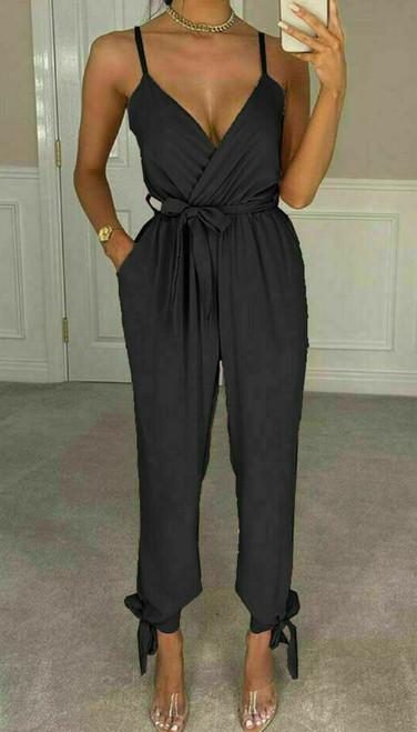 ankle tie wrap jumpsuit black