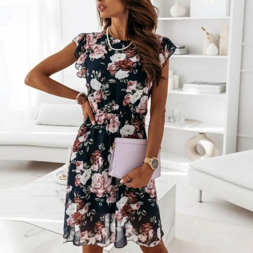 floral chiffon mini dress black