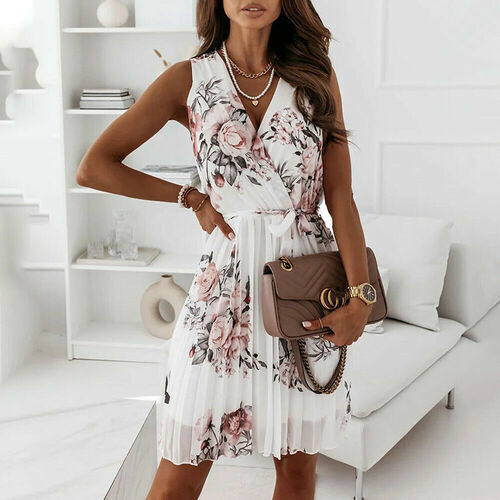 PLEATED RUFFLE DRESS WHITE ROSE