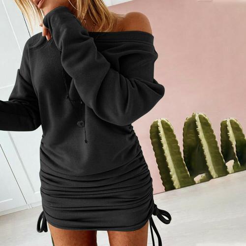 RUCHED MINI SWEATER DRESS BLACK