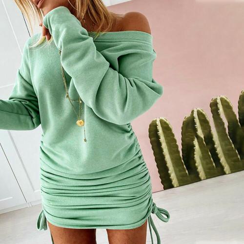 RUCHED SWEATER MINI DRESS GREEN