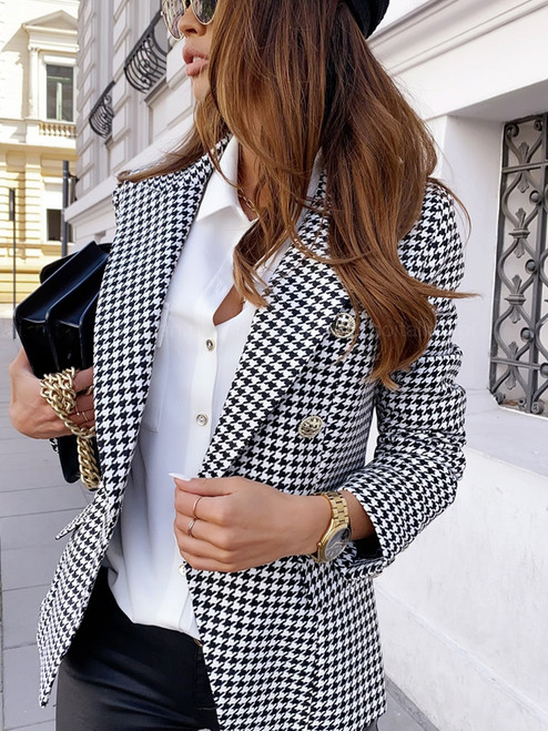 DOUBLE BREASTED CHECKED BLAZER BLACK