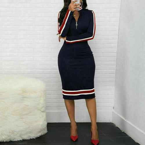 stripe midi dress navy