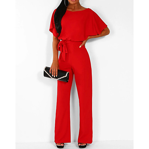 BATWING BELTED JUMPSUIT RED