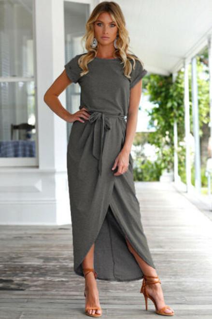 split tie waist maxi dress grey