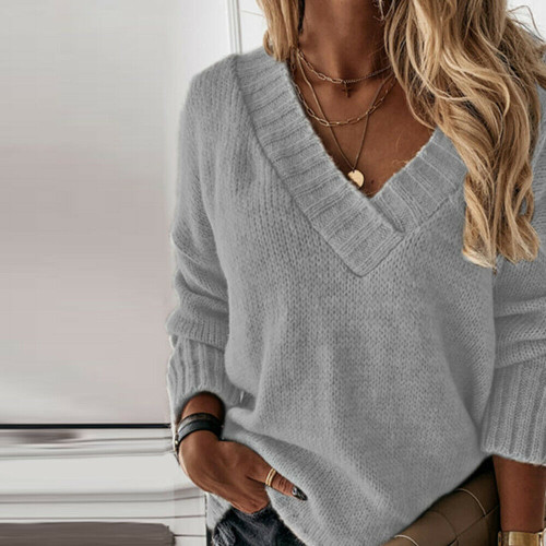 OVERSIZED KNITTED JUMPER GREY