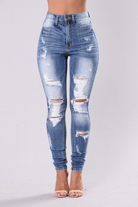DISTRESSED HIGH WAISTED JEANS BLUE