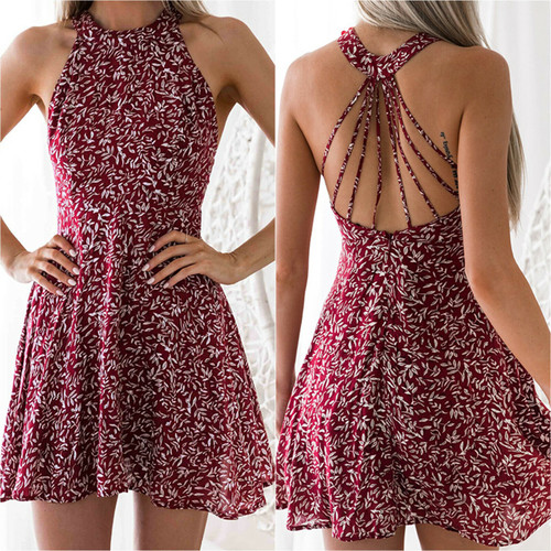 FLORAL STRAPPY MINI DRESS RED
