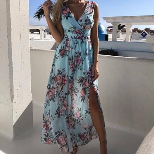 FLORAL SPLIT MAXI DRESS BLUE